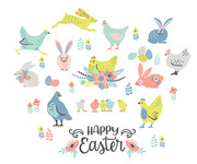 Happy Easter. Vector set of easter chicken and bunnies for card, poster, flyer and other users. Design element.