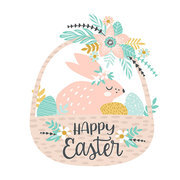 Happy Easter. Vector template with easter bunny for card, poster, flyer and other users. Design element.