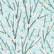 Vector floral pattern with flowers and branches. Gentle, spring floral background.