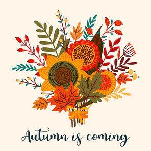 Cute illustration with autumn bouquet. Vector template for card, poster, flyer, cover and other use. Trendy retro style.