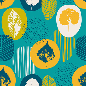 Abstract autumn seamless pattern with leaves. Vector background for various surface. Trendy hand drawn textures.