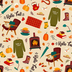 Autumn seamless pattern with homely cute things. Vector design for card, poster, flyer, web and other users.