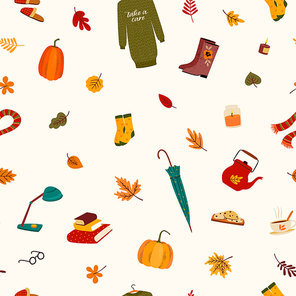 Seamless pattern with cute things and autumn leaves. Vector background for various surface. Trendy hand drawn textures.