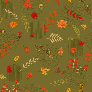Abstract seamless autumn pattern. Leaves, branches, grass, berries. Vector background for various surface. Trendy hand drawn textures.