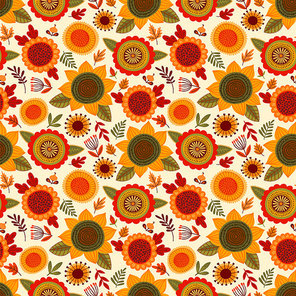 Folk seamless pattern with autumn flowers, leaves and berries. Vector background for various surface. Trendy hand drawn textures.