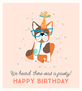 Happy Birthday. Vector illustration with cute dog. Design template