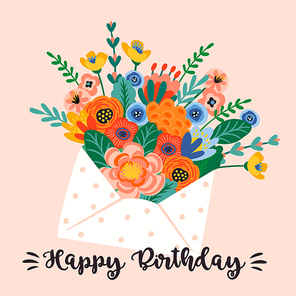 Happy Birthday. Vector illustration of cute bouquet of flowers in envelope. Design template for card, poster, flyer, banner and other use