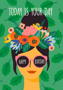 Happy Birthday. Vector illustration of cute lady in glasses with wreath. Design template for card, poster, flyer, banner and other use