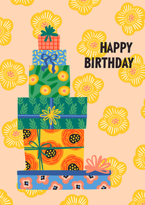 Happy Birthday. Vector illustration of cute gift boxes. Design template for card, poster, flyer, banner and other use