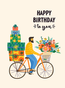 Happy Birthday. Vector illustration of cute man on a bicycle with bouquet and gift boxes. Design template for card, poster, flyer, banner and other use