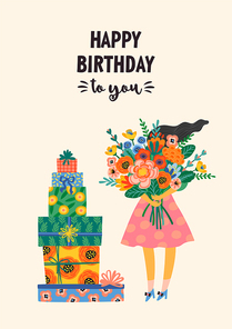 Happy Birthday. Vector illustration of cute lady with bouquet of flowers and gift boxes. Design template for card, poster, flyer, banner and other use