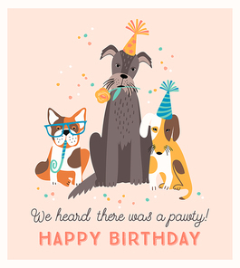 Happy Birthday. Vector illustration with cute dogs. Design template