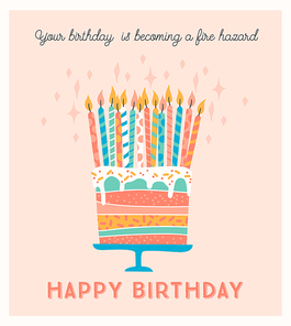 Happy Birthday. Vector illustration of cake with candles. Design template