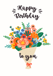 Happy Birthday. Vector illustration of cute bouquet of flowers. Design template for card, poster, flyer, banner and other use