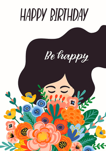 Happy Birthday. Vector illustration of cute lady with bouquet of flowers. Design template for card, poster, flyer, banner and other use