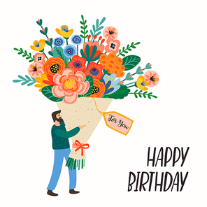 Happy Birthday. Vector illustration of cute man with bouquet of flowers. Design template for card, poster, flyer, banner and other use