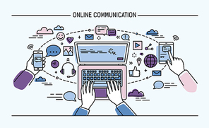 online communication lineart banner. gadgets, information technology, communications, messaging, chat, media Colorful flat style vector illustration