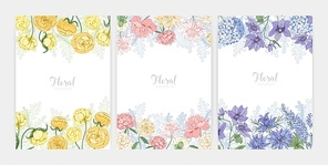 Collection of floral backgrounds or card templates with frames made of beautiful blooming wild flowers and flowering herbs and place for text. Elegant realistic botanical vector illustration.