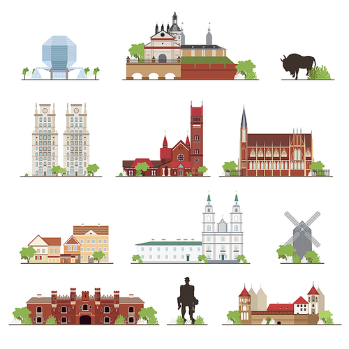 Set of Belarus country buildings, famous places in flat style, illustration collection.