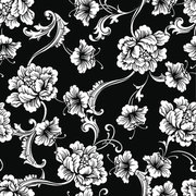 Fabric seamless pattern with baroque ornament. Vector background.