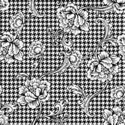 Eclectic fabric plaid seamless pattern with baroque ornament. Vector background.