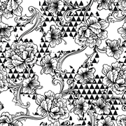 Eclectic fabric seamless pattern. Geometric background with baroque ornament. Vector illustration