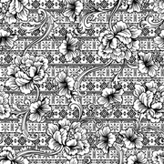 Eclectic fabric seamless pattern. Ethnic background with baroque ornament. Vector illustration.