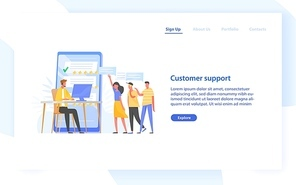Web banner template with technical online consultant or manager wearing headphones sitting at computer, five star rating and group of clients. Customer support. Flat colorful vector illustration