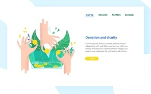 Landing page template with hands holding coins and bills and putting them into money box. Charity project, donation service, fundraising program. Modern colorful vector illustration for advertisement