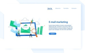 Web banner template with giant tablet computer with letter in envelope on display, group of people or marketers and place for text. Email marketing, internet advertisement. Flat vector illustration