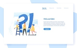 Web banner template with giant question mark and interrogation point and tiny people. FAQ, customer guide, user manual, useful information for problem solving. Flat colorful vector illustration
