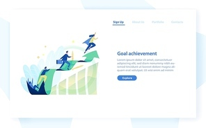 Website template with people, office workers, managers or clerks climbing on ascending graph or trend. Business goal achievement, career growth and development. Flat colorful vector illustration