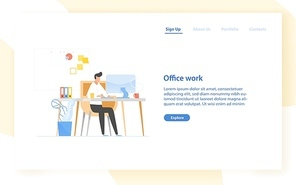 Web banner template with programmer or coder sitting at desk and working. Office work in software development, programming or program coding. Modern flat vector illustration for advertisement