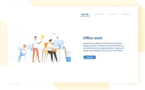 Web banner template with programmers or coders working together at office. Software development, programming or program coding. Colleagues at work. Modern flat vector illustration for website