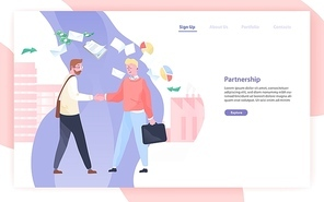 Web banner or website template with pair of business partners or businessmen shaking hands and place for text. Partnership, deal, agreement. Colored vector illustration in flat style for landing page