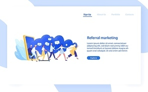 Website template with group of people or customers holding hands and walking out of giant smartphone. Referral marketing or Refer A Friend loyalty program. Modern flat colorful vector illustration