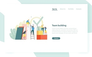 Landing page template with group of clerks, employees or office workers climbing up together and supporting each other. Team building, teamwork. Flat vector illustration for website, web banner