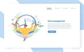 Web banner template with man sitting with crossed legs against clock face on background. Time management, effective planning and organization, scheduling, multitasking. Flat vector illustration