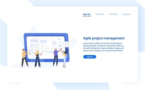 Web banner template with group of people organizing tasks on screen of giant tablet PC. Agile project management for business work organization. Flat vector illustration for website, landing page