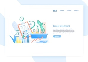 Web banner template with pair of businessmen or investors shaking hands, stock exchange market graphs and money. Investment and funding. Colorful vector illustration in flat style for advertisement