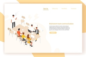 Landing page template with group of people or office workers sitting at table and talking to each other. Work meeting, discussion, team communication, brainstorm. Isometric vector illustration
