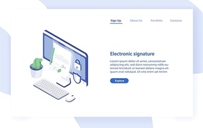 Landing page template with desktop computer, paper document with signature on it, lock and shield. Electronic signature, secure technology. Modern isometric vector illustration for service promotion