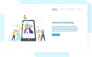 Web banner template with smartphone, woman with bullhorn on screen and customers surrounding her. Influencer marketing, social media promotion. Flat vector illustration for internet advertisement