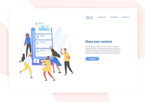 Web banner template with people and giant smartphone with posts on screen. Sharing content on social media, blogging and microblogging. Modern vector illustration in flat style for advertisement