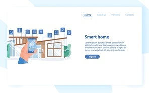 Web banner template with hand holding mobile phone with app for house automation against residential building on background. Smart home with remote control. Flat vector illustration for website