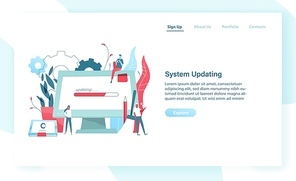 Web banner template with giant computer display and tablet PC with progress bar on screen and tiny people. System update or upgrade, software maintenance. Modern vector illustration for advertisement