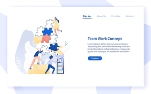 Web banner template with group of tiny office workers or colleagues assembling together giant jigsaw puzzle pieces. Teamwork, business cooperation. Modern flat vector illustration for website