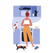 Crazy cat lady standing in kitchen full of her kitties and cooking. Home scene with woman and her domestic animals. Lonely pet owner. Back view. Colorful vector illustration in flat cartoon style