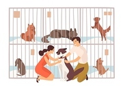 Pair of smiling young man and woman adopting pet from animal shelter, pound, rehabilitation or adoption center for stray and homeless dogs. Colorful vector illustration in flat cartoon style