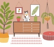 Interior of comfy room with table and cat sitting on it, potted plants, wall pictures, home decorations. Cozy house decorated in modern Scandinavian hygge style. Flat colorful vector illustration